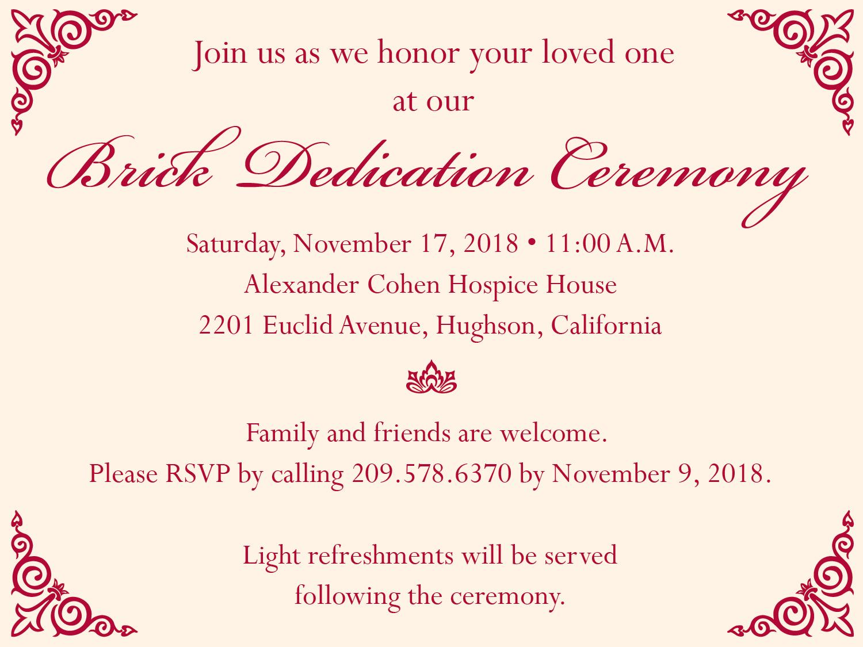 Brick Dedication Invitation 01 Community Hospice Foundation
